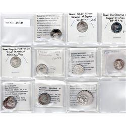 ROMAN EMPIRE: LOT of 9 silver denarii and 1 Greek tetradrachm