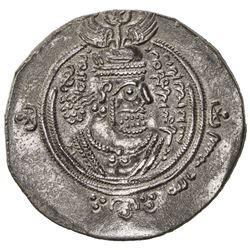ARAB-SASANIAN: 'Abd al-Malik b. Marwan, 685-705, AR drachm (3.77g), DA (Darabjird), YE64. VF