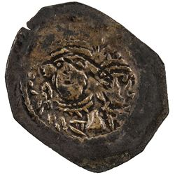 ARAB-SASANIAN: Anonymous, ca. 690-710+, AE pashiz (0.44g), NM, ND. VF
