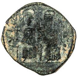 """PERSIAN OCCUPATION OF SYRIA: Justin & Sophia type, ca. 610-630+, AE follis (10.42g), year """"15"""". F-VF"""