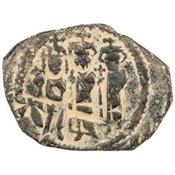 ARAB-BYZANTINE: Three standing figures, ca. 640s-650s, AE fals (4.61g), Cyprus. VF