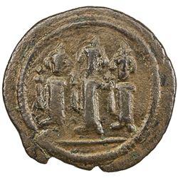 ARAB-BYZANTINE: Three Standing Figures, ca. 680-705, AE fals (4.15g), Tabariya. VF