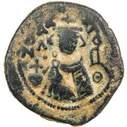 ARAB-BYZANTINE: Imperial Bust, ca. 685-692, AE fals (4.16g), Hims. VF