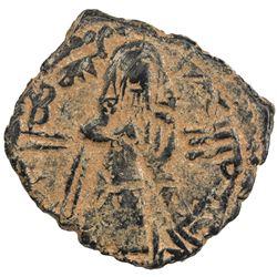 ARAB-BYZANTINE: Standing Caliph, ca. 692-697, AE fals (3.67g), Tanukh. VF-EF