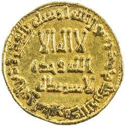 UMAYYAD: Hisham, 724-743, AV dinar (4.23g), NM (Dimashq), AH115. EF