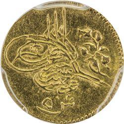 EGYPT: Abdul Hamid II, 1876-1909, AV 5 qirsh, Misr, AH1293 year 3. PCGS AU55