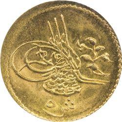 EGYPT: Abdul Hamid II, 1876-1909, AV 5 qirsh, Misr, AH1293 year 7. NGC MS63