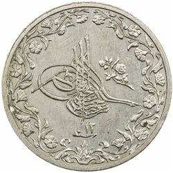 EGYPT: Abdul Hamid II, 1876-1909, copper-nickel 1/10 qirsh, AH1293 year 12. UNC