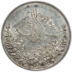 EGYPT: Abdul Hamid II, 1876-1909, AR 20 qirsh, AH1293-W year 10. PCGS MS62