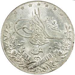 EGYPT: Mehmet V, 1909-1918, AR 10 qirsh, Misr, AH1327 year 6. UNC