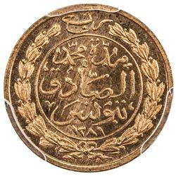 TUNIS: Muhammad al-Sadiq Bey, 1859-1882, AE 1/4 kharub, AH1281. PCGS SP65