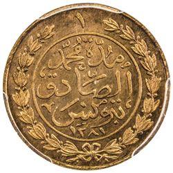 TUNIS: Muhammad al-Sadiq Bey, 1859-1882, AE kharub, AH1281. PCGS SP64