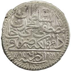 TURKEY: Mustafa II, 1695-1703, AR kurush (18.59g), Edirne, AH1106. VF-EF