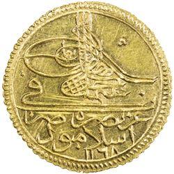 TURKEY: Osman III, 1754-1757, AV zeri mahbub (2.62g), Islambul, AH1168. BU