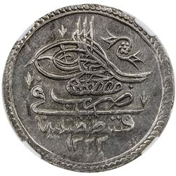 TURKEY: Mustafa IV, 1807-1808, AR kurush, Kostantiniye, AH1222 year 1. NGC MS62