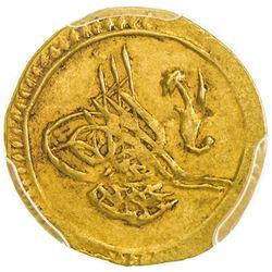 TURKEY: Mahmud II, 1808-1839, AV 1/4 zeri mahbub, Kostantiniiye, AH1223 year 5. PCGS AU53