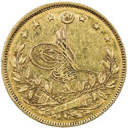 TURKEY: Murad V, 1876, AV 100 kurush (7.17g), Kostantiniye, AH1293 year 1. VF
