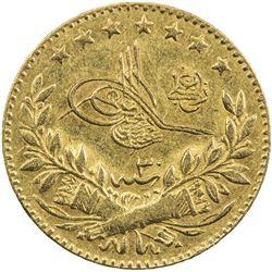TURKEY: Abdulhamid II, 1876-1909, AV 25 kurush (1.81g), Kostantiniye, AH1293 year 30. EF