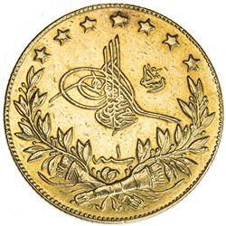 TURKEY: Mehmet V, 1909-1918, AV 100 kurush (7.09g), Bursa, AH1327 year 1. EF
