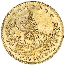 TURKEY: Mehmet VI, 1918-1924, AV 25 kurush (1.78g), Kostantiniye, AH1336 year 1. UNC