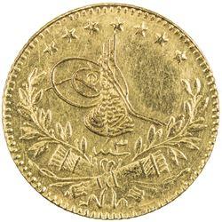 TURKEY: Mehmet VI, 1918-1924, AV 25 kurush (1.79g), Kostantiniye, AH1336 year 3. AU