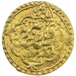 ZAND: Karim Khan, 1753-1779, AV 1/4 mohur (2.77g), Tabriz, AH1178. VF