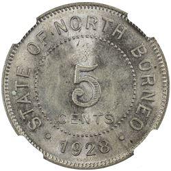 BRITISH NORTH BORNEO: 5 cents, 1928-H. NGC MS66