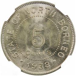 BRITISH NORTH BORNEO: 5 cents, 1938-H. NGC MS66