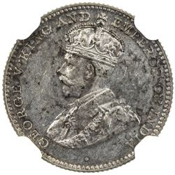 CEYLON: George V, 1910-1936, AR 10 cents, 1928. NGC PF63
