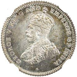 CEYLON: George V, 1910-1936, AR 25 cents, 1926. NGC PF66