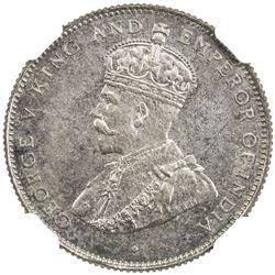 CEYLON: George V, 1910-1936, AR 50 cents, 1929. NGC PF65