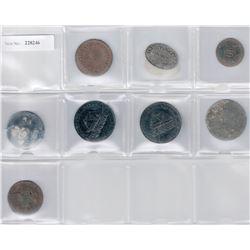 CEYLON:LOT of eight 19th century tokens
