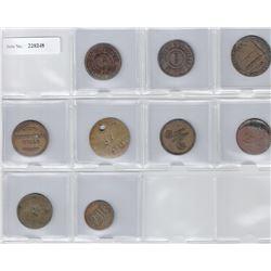 CEYLON:LOT of nine 19th century tokens