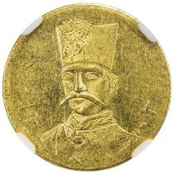 IRAN: Nasir al-Din Shah, 1848-1896, AV 5000 dinars, Tehran, AH1303. NGC MS62