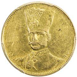 IRAN: Nasir al-Din Shah, 1848-1896, AV toman, Tehran, AH1297. PCGS AU53