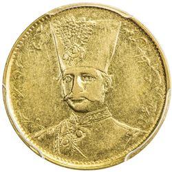 IRAN: Nasir al-Din Shah, 1848-1896, AV toman, Tehran, AH1297. PCGS AU50