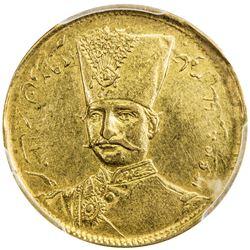 IRAN: Nasir al-Din Shah, 1848-1896, AV toman, Tehran, AH1299. PCGS AU55
