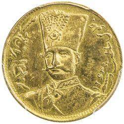 IRAN: Nasir al-Din Shah, 1848-1896, AV toman, Tehran, blundered date. PCGS AU