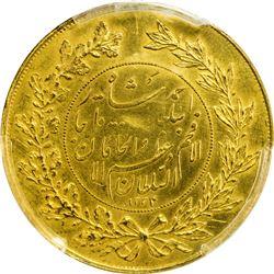 IRAN: Ahmad Shah, 1909-1924, AV 5 toman (14.31g), AH1334. PCGS UNC