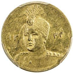 IRAN: Ahmad Shah, 1909-1925, AV 5000 dinars, AH1343/33. PCGS AU