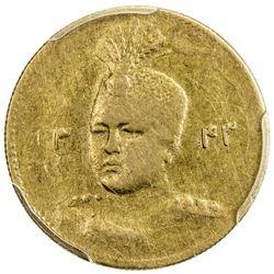 IRAN: Ahmad Shah, 1909-1925, AV 5000 dinars, AH1343. PCGS AU53