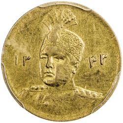 IRAN: Ahmad Shah, 1909-1925, AV 5000 dinars, AH1343. PCGS AU50