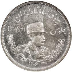 IRAN: Reza Shah, 1925-1941, AR 2000 dinars, SH1306-H. NGC PF63