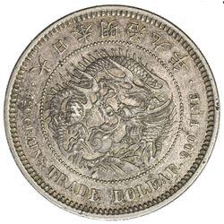 JAPAN: Meiji, 1867-1912, AR trade dollar (27.26g), year 9. AU