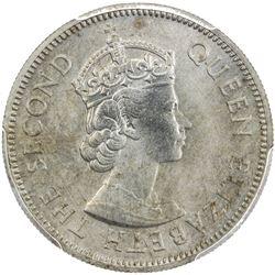 MALAYA & BRITISH BORNEO: Elizabeth II, 1952-1963, 20 cents, 1957-KN. PCGS SP