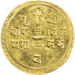 NEPAL: Prithvi Vira, 1881-1911, AV 1/4 mohar (1.39g), SE1829. BU