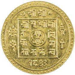 NEPAL: Prithvi Vira, 1881-1911, AV mohar (5.54g), SE1833. UNC