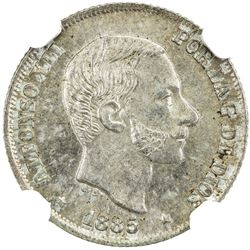 PHILIPPINES: Alfonso XII, 1874-1885, AR 10 centimos, 1885. NGC MS65