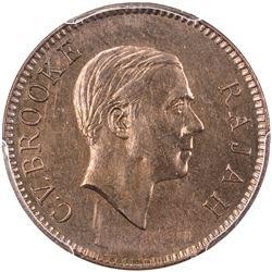 SARAWAK: Charles V. Brooke, 1917-1946, AE cent, 1927-H. PCGS SP