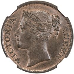 STRAITS SETTLEMENTS: Victoria, 1837-1901, 1/2 cent, 1845. NGC MS64
